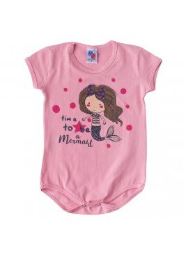 body para bebe feminino mermaid rosa hdu
