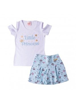 conjunto 0infantil feminino little princess branco pop love