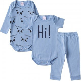 kit body bebe masculino hello azul moda love 4